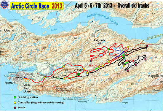 Arctic Circle Race ACR Route Map - Map of arctic circle